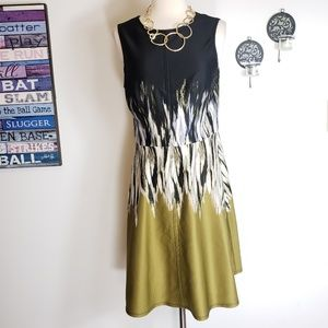 Vince Camuto fit & flare tie dye olive green dress